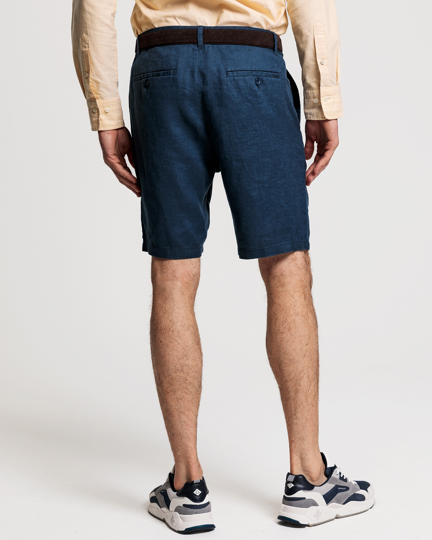 GANT Men's Navy Blue Linen Bermuda Shorts - 205026