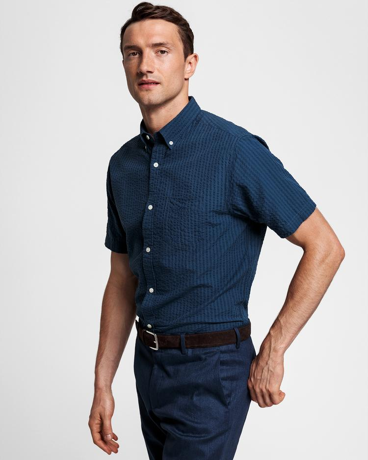 GANT Men's Navy Striped Regular Fit Shirt - 3024831