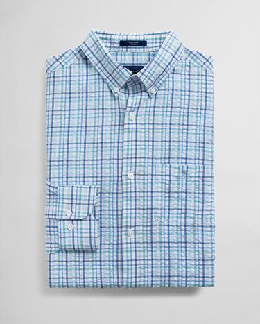 GANT Men's Blue Regular Fit Checked Shirt - 3025130