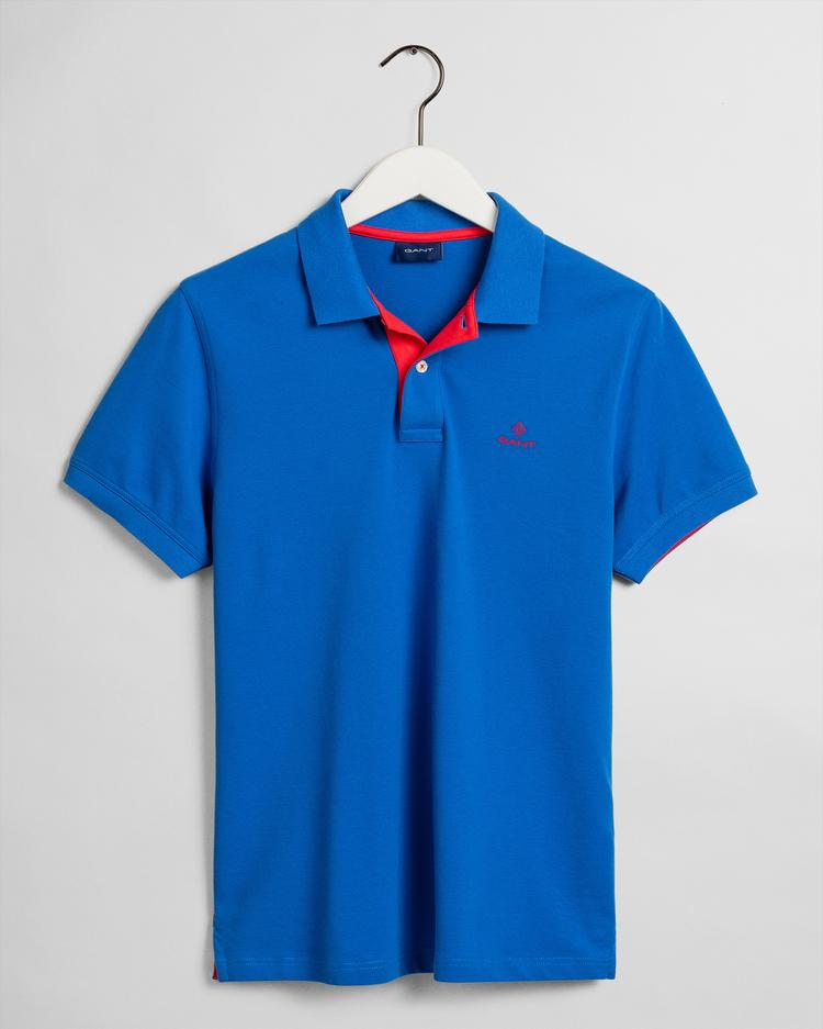GANT Men's Contrast Collar Pique Short Sleeve Rugger Polo - 2052003