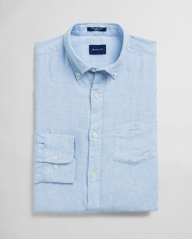 GANT Men's Blue Regular Fit Linen Shirt - 3012420