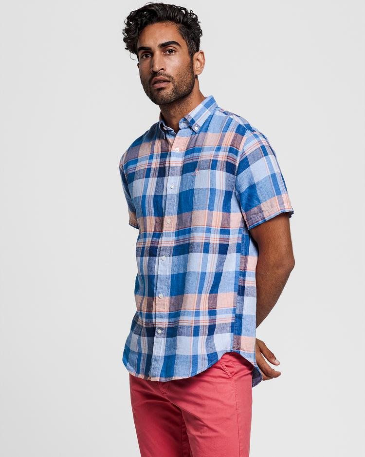 GANT Men's Blue Regular Fit Checked Linen Shirt - 3013621