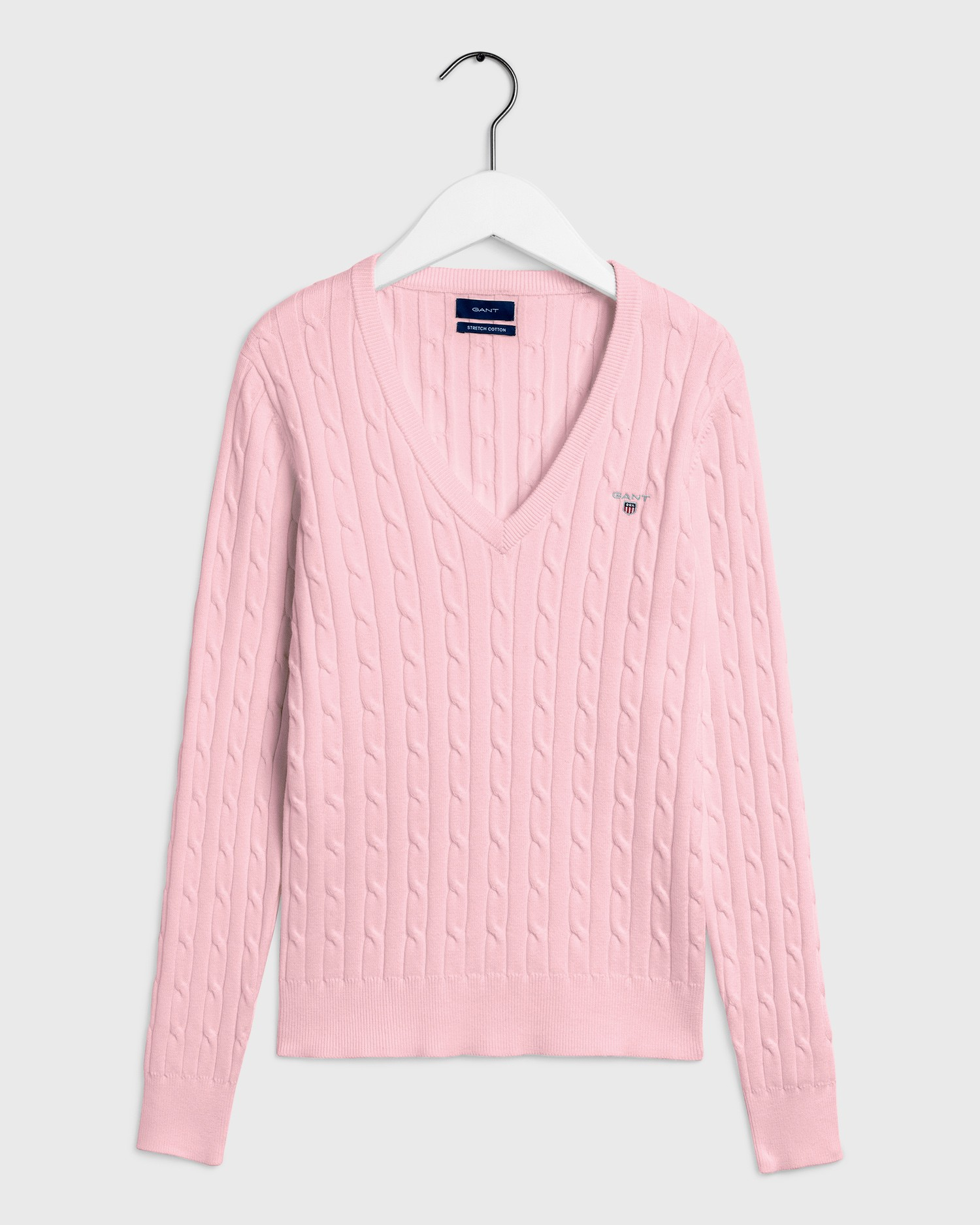 GANT Women's Stretch Cotton Cable V Neck Sweater - 480022