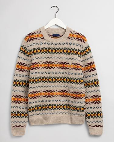 GANT Men's Textured Fairisle Crew Sweater - 8000123