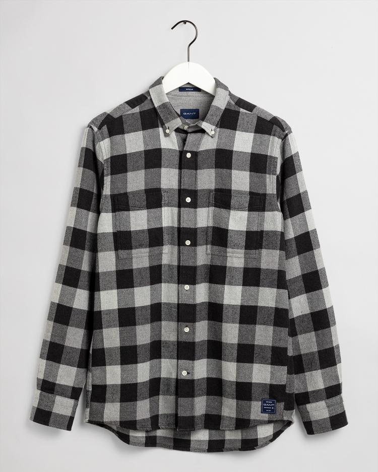 GANT Men's Flannel Melange Check Regular Fit Broadcloth Shirts - 3017120