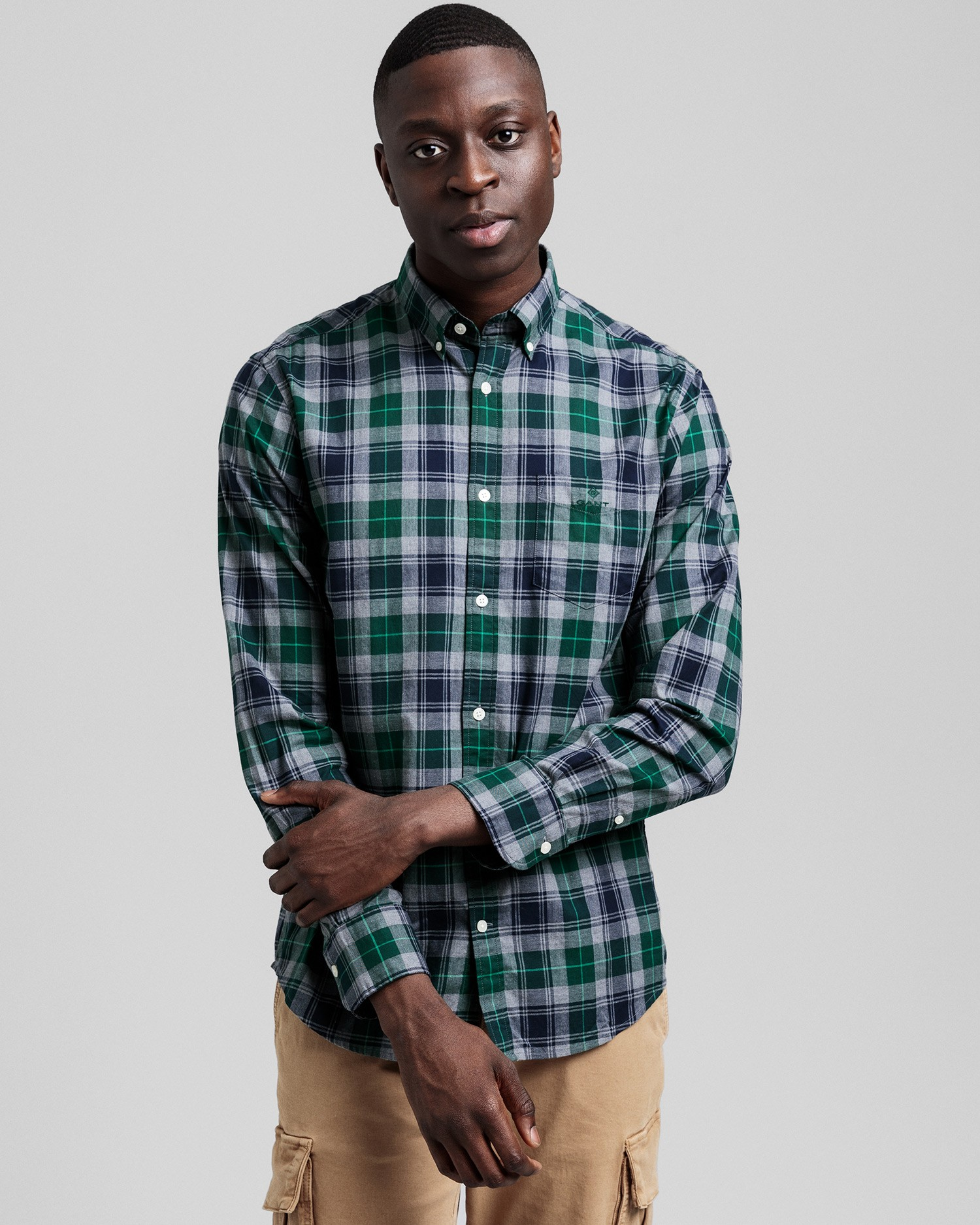GANT Men's Melange Herringbon Check Regular Fit Broadcloth Shirts - 3028230
