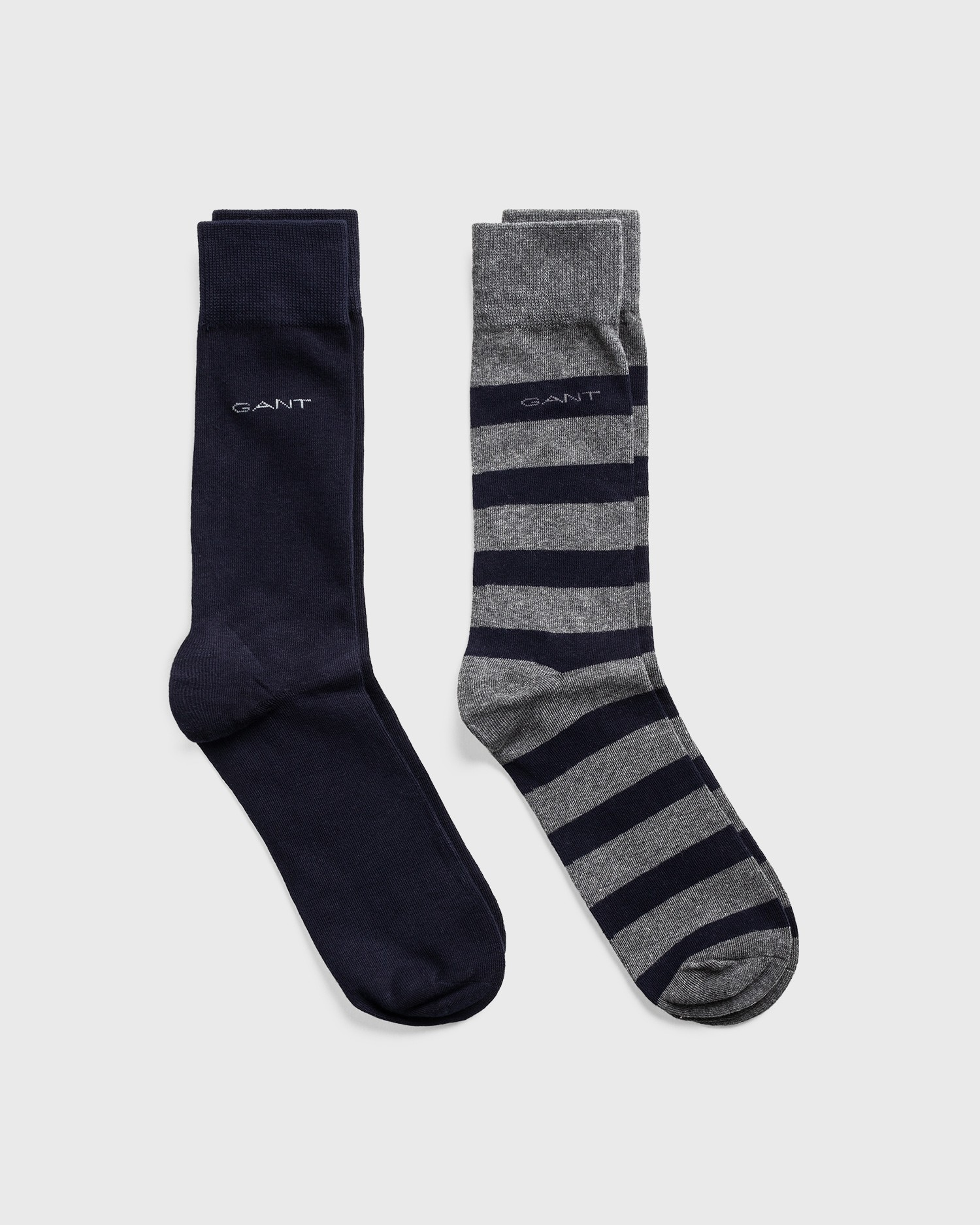 GANT Unisex 2 Pack Barstripe And Solid Socks - 9960084