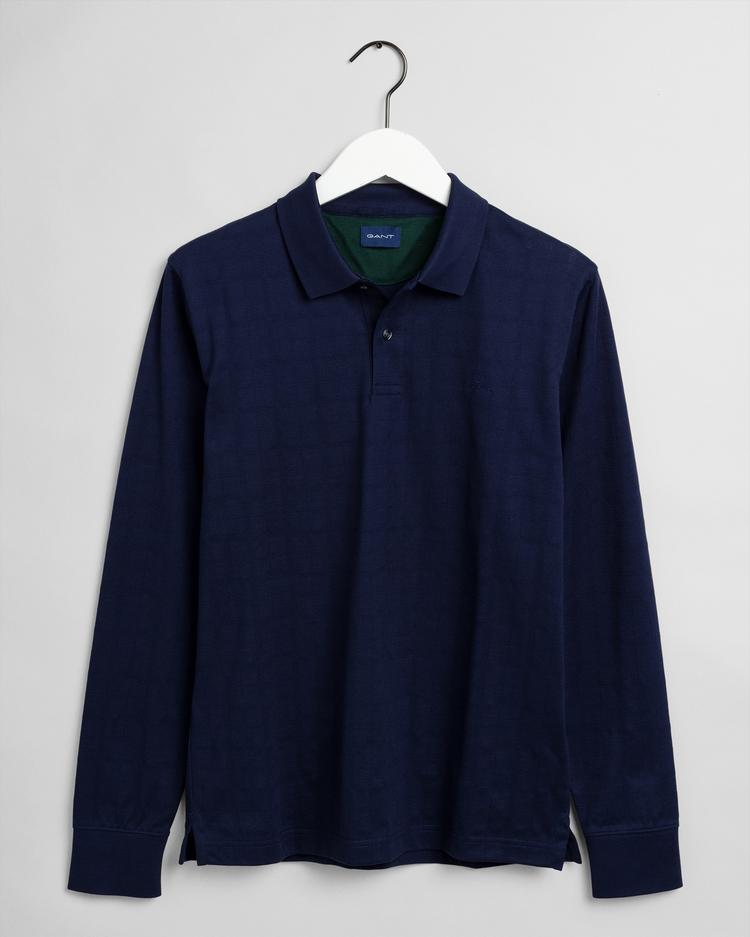 GANT Men's Texture Check Long Sleeve Rugger Polo - 2015036