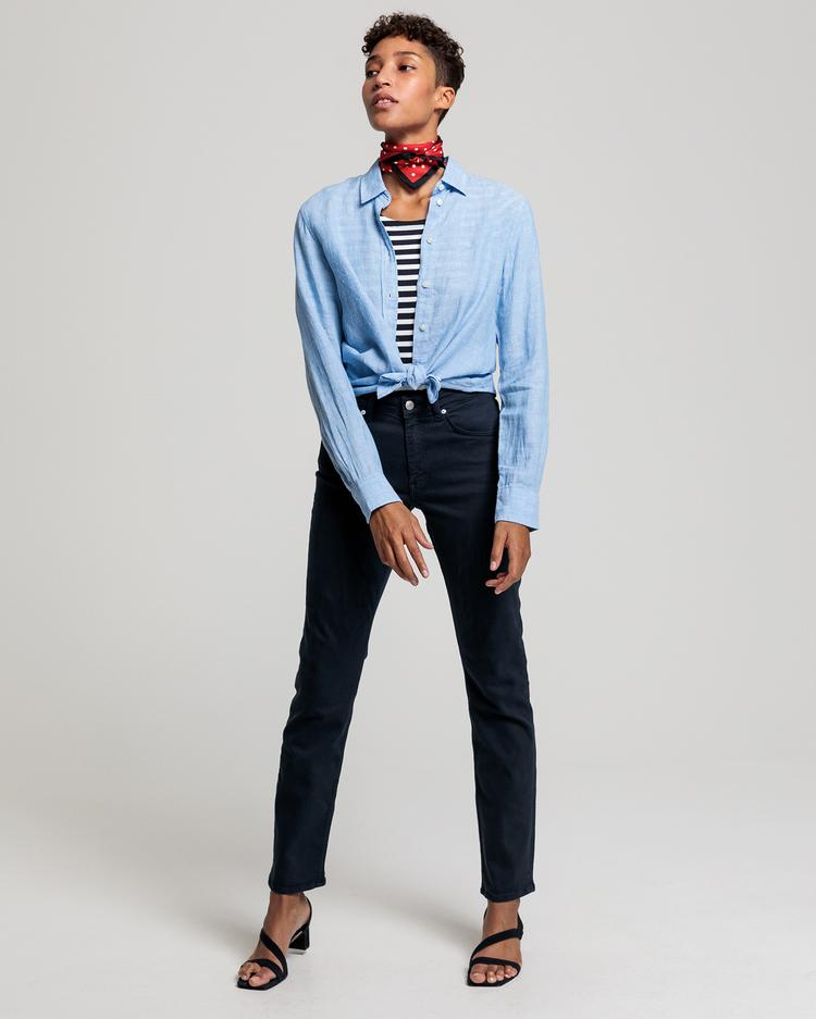 GANT Women's Blue Linen Regular Fit Linen Shirt - 4321000