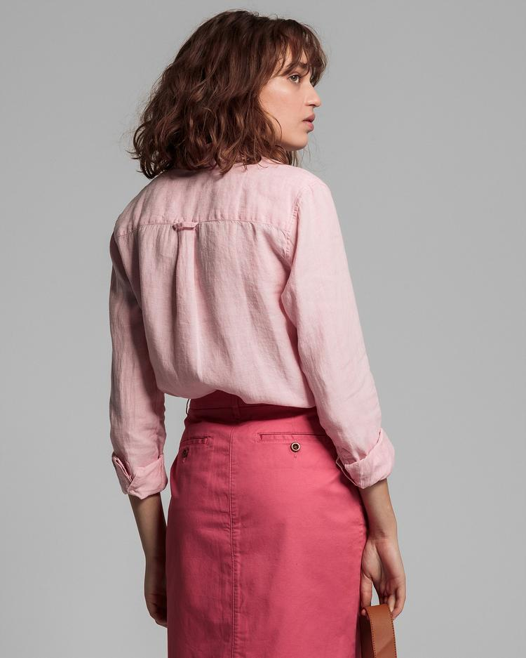 GANT Women's Pink Linen Regular Fit Linen Shirt - 4321000