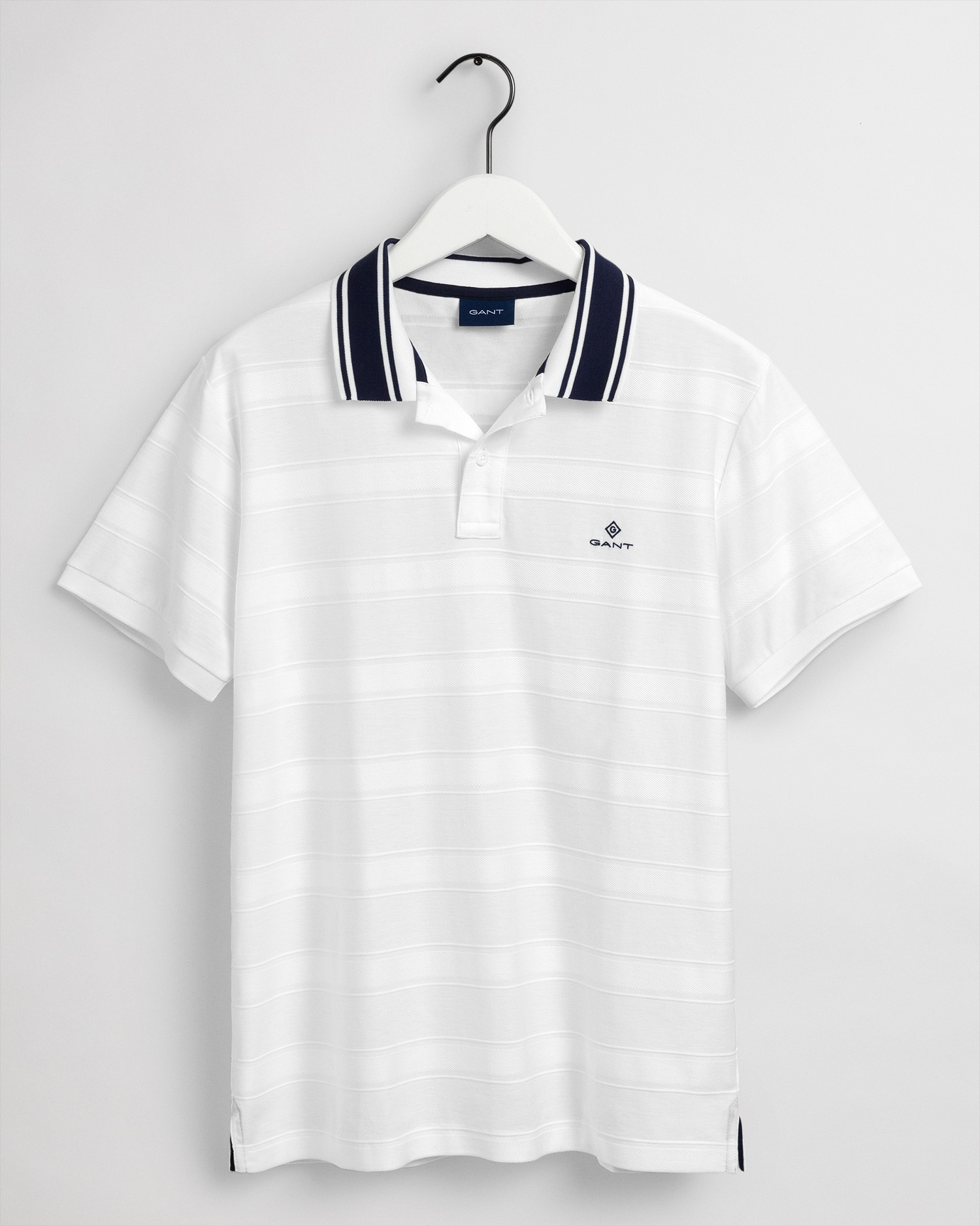 GANT Men's Texture Stripe Short Sleeve Rugger Polo - 2012070