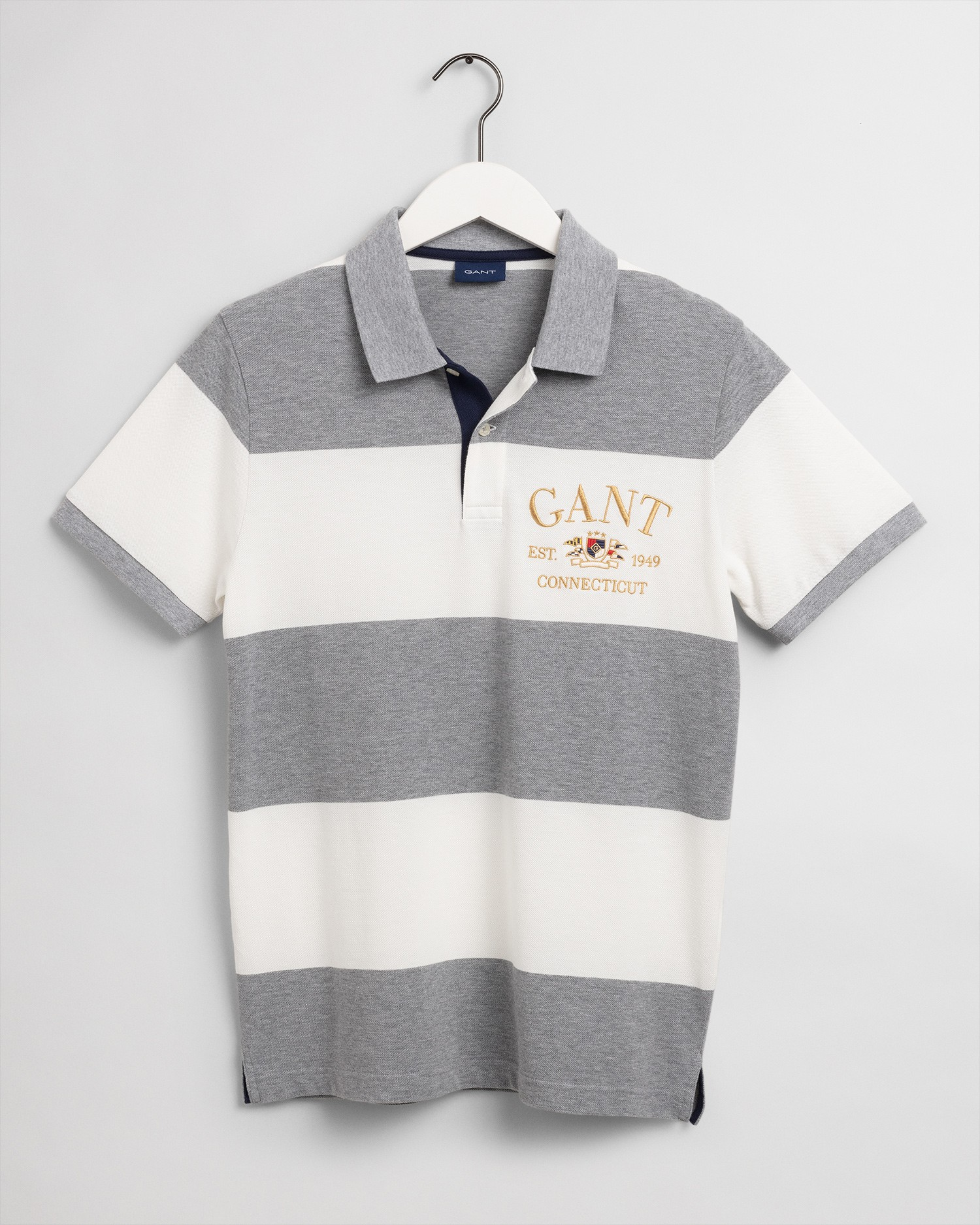 GANT Men's Flag Crest Barstripe Short Sleeve Pique Polo - 2022109