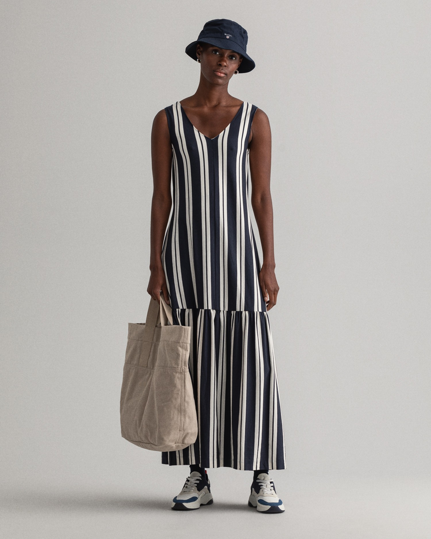 GANT Women's Striped Maxi Jersey Dress  - 4204363
