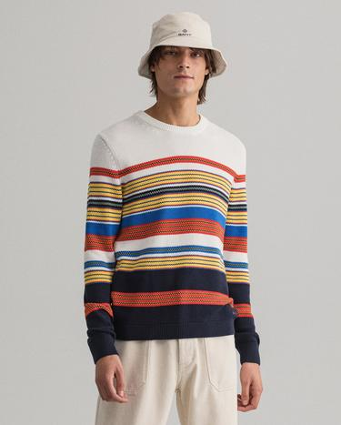 GANT Men's Multi Colored Striped C-Neck Sweater - 8040080
