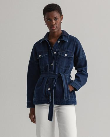 GANT Women's Oversized Belted Denim Jacket - 4700156