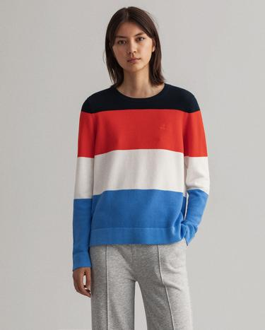 GANT Women's Cotton Pique Stripe C-Neck Sweater - 4800087