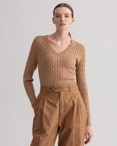 GANT Women's Stretch Cotton Cable V-Neck Sweater - 480022
